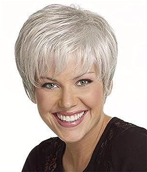 GAIHU Ceniza gris plateado corta peluca pelucas sintéticas suaves poco rizado Cabello Traje de viejas mujeres
