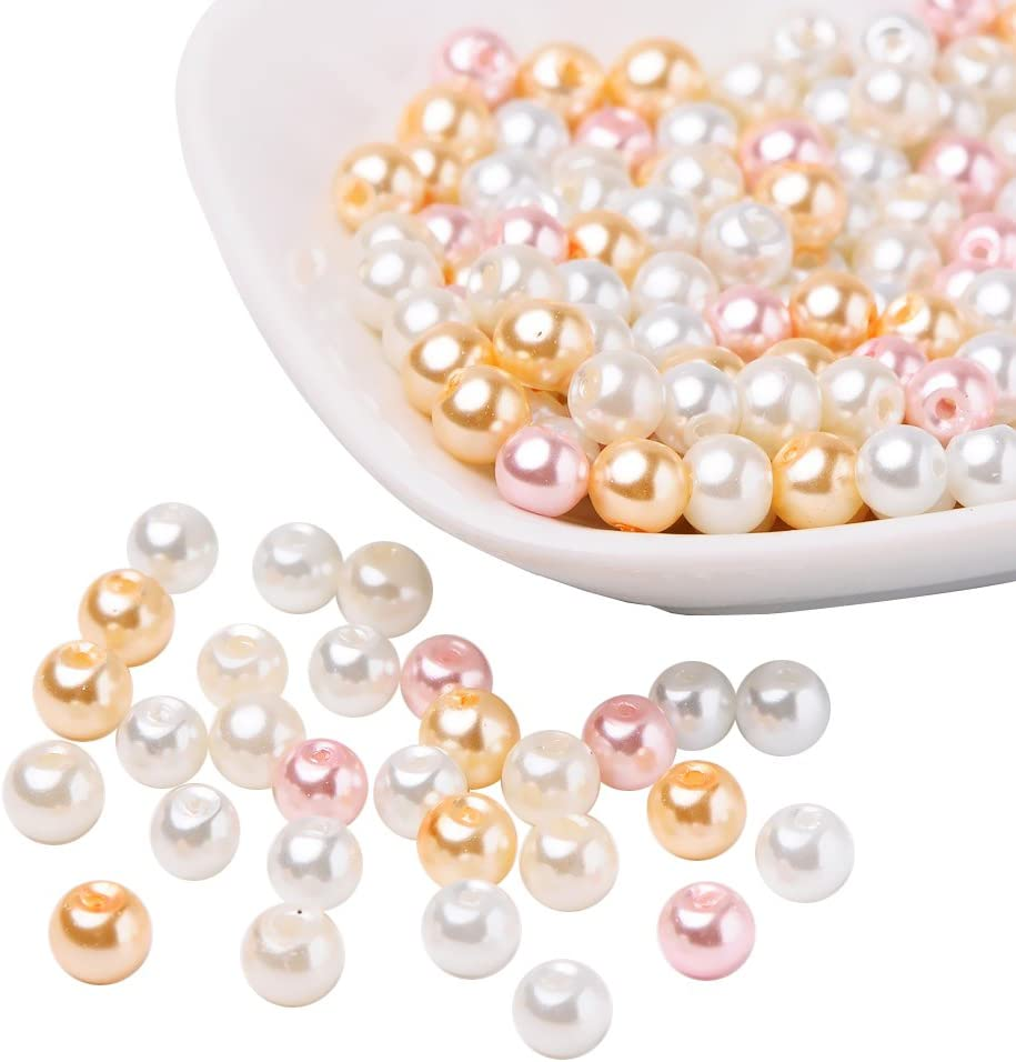 PandaHall Mezcla de Perlas de Vidrio nacarado Perlado Rosado, Color Mezclado
