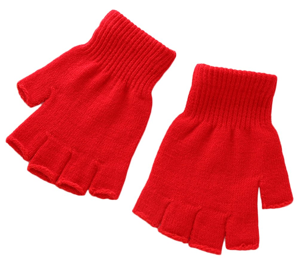X& F Boys' and Girls' Solid Knitted Half Finger Mittens Typing Gloves, Small Black GL13181234