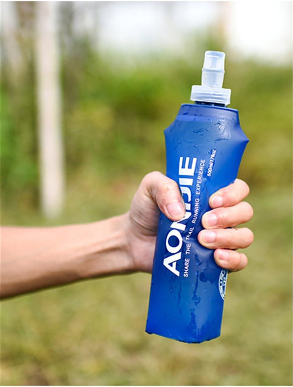 AONIJIE 2 Unidades 250 ml 500 ml Plegable Deportes BPA Libre de PVC Botella Plegable para Deporte Flask Botella de Hidrataci/ón