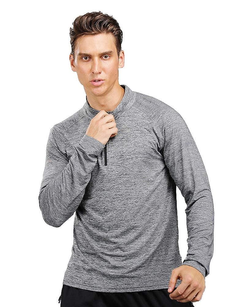 Yuntown Men Long Sleeve T-Shirt Half Zip Sport Jogging Tops Breathable Wicking