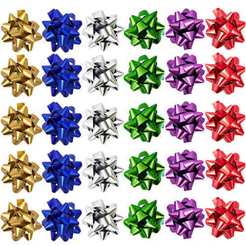 - Allgala 30PC Value Pack Christmas Gift Wrapping Bows 6-Color Assorted