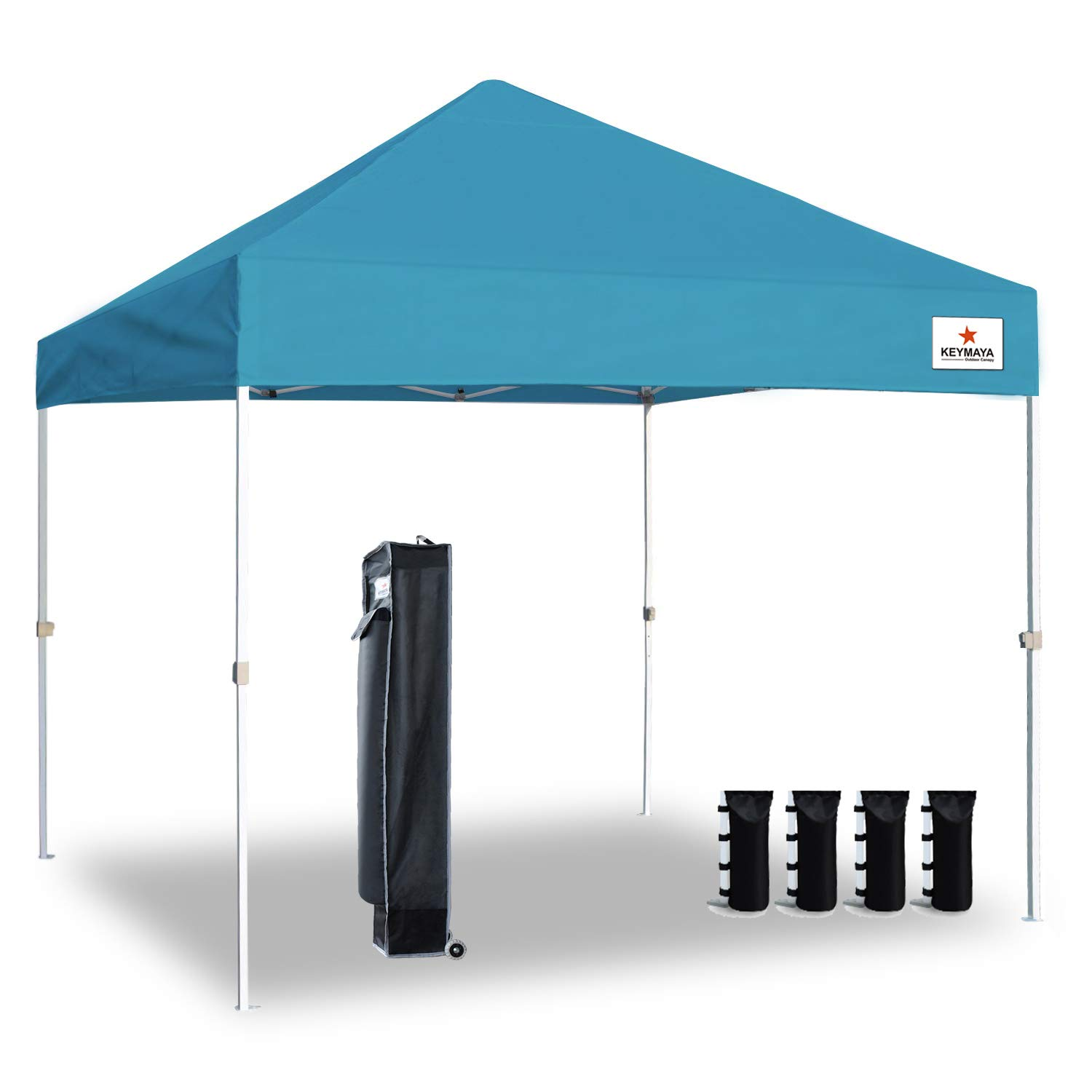 Keymaya 10'x10' Ez Pop Up Canopy Tent Commercial Instant Shelter Canopies Bonus Heavy Duty Weight Bag 4-pc Pack (10x10, A# Turquoise)