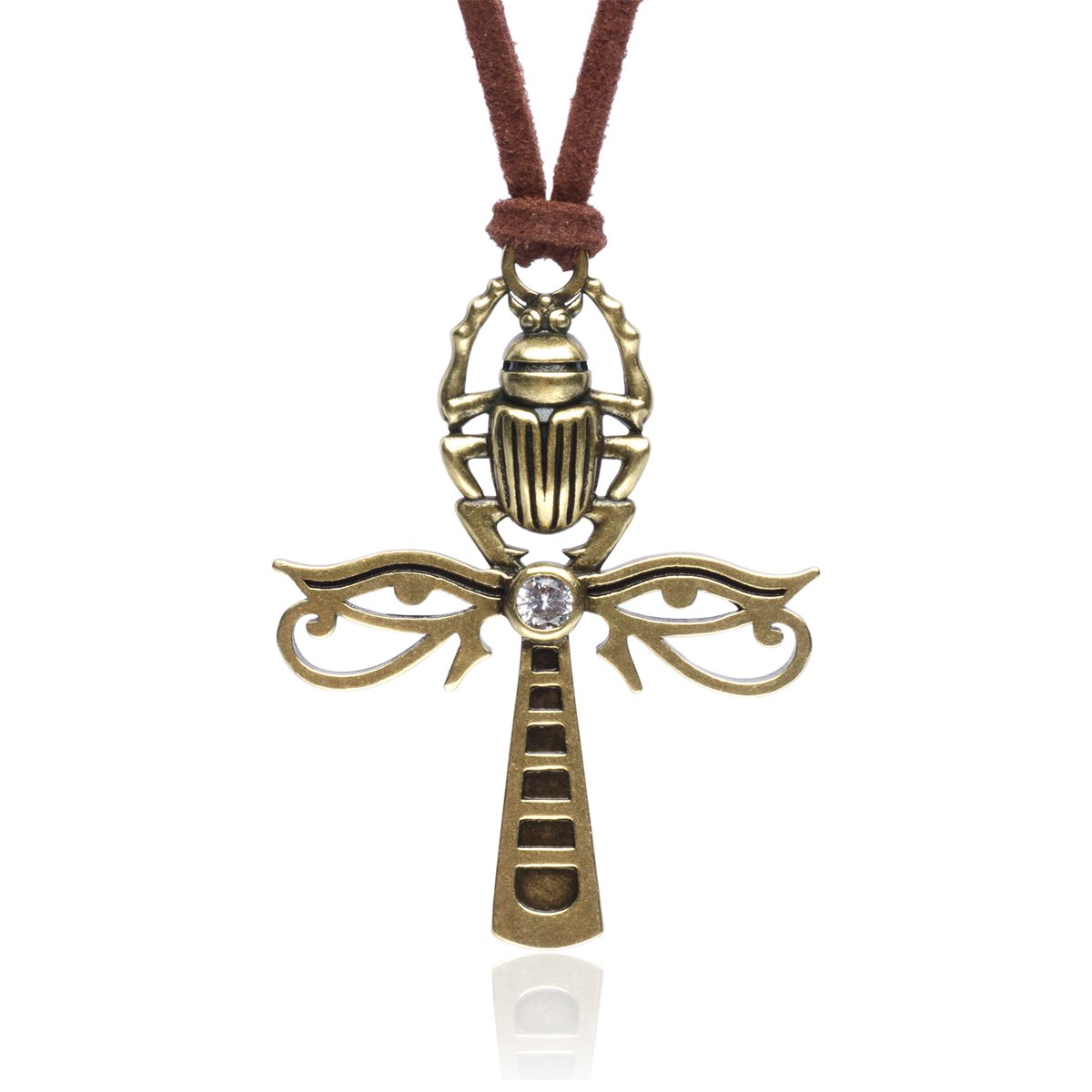 Karsee Ankh Cross Charm Pendant Necklace Horus Eye and Egyptian Scarab Integrated Retro Copper Jewelry Gifts Unisex Brown Adjustable Sliding Knot Leather Cord, Ancient Bronze