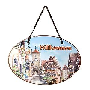 Essence of Europe Gifts E.H.G Willkommen Ceramic Door Sign