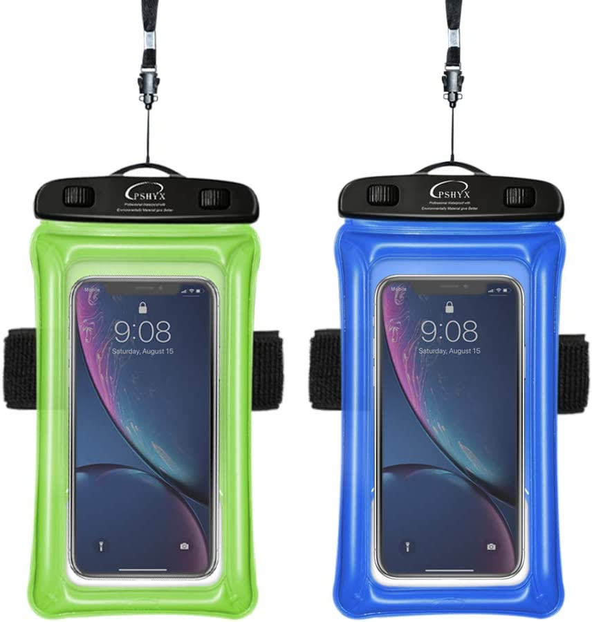 PSHYX Universal 100 Feet Waterproof Phone Bag Floating Case with Arm Band for iPhone 11 12 Pro Max XS XR X 8 7 6S Plus Samsung Google LG Phone up to 7 Inch (Pack of 2) (Blue+Green)