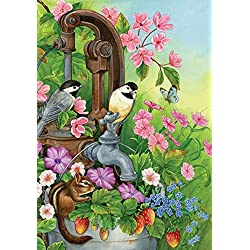 Toland Home Garden Watering Time 12.5 x 18 Inch Decorative Cute Spring Bird Flower Floral Garden Flag