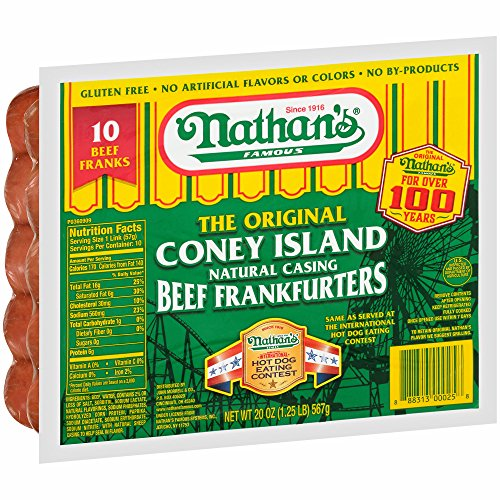 Nathan's Famous The Original Coney Island Beef Frankfurters, 20 oz 3 (Beef Hot Dog)