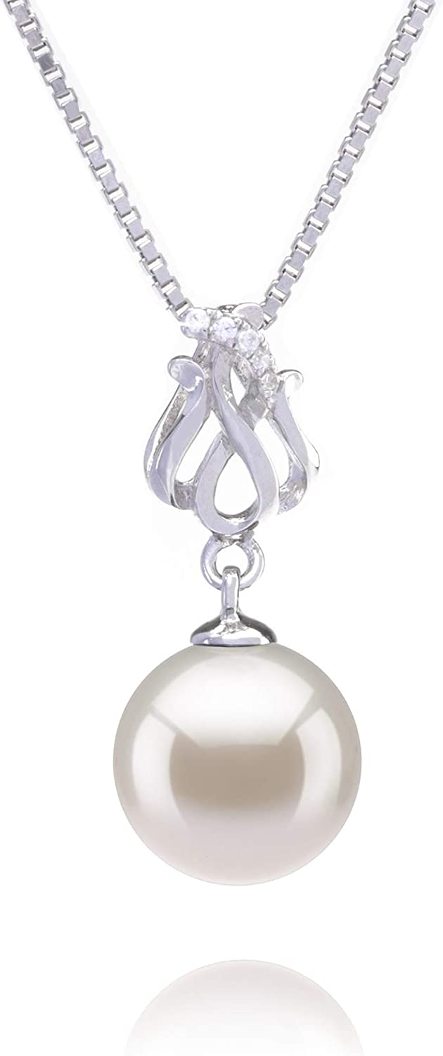 Merina White 9-10mm AAAA Quality Freshwater 925 Sterling Silver Cultured Pearl Pendant For Women