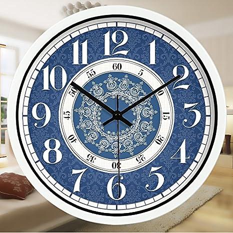 American Blue Patrón Blanco Metalizado Reloj De Cuarzo En Silencio Simple Reloj De Pared Digital Romano, 12 Pulgadas, Blanco B: Amazon.es: Hogar