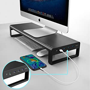 "Aluminum Monitor Stand with USB 3.0 Hub and Fast Charging Coumputer iMac Stand MacBook Stand Riser Holds 32"" Monitor Or 66 lbs Storage for Magic Keyboard & Mouse - Black"