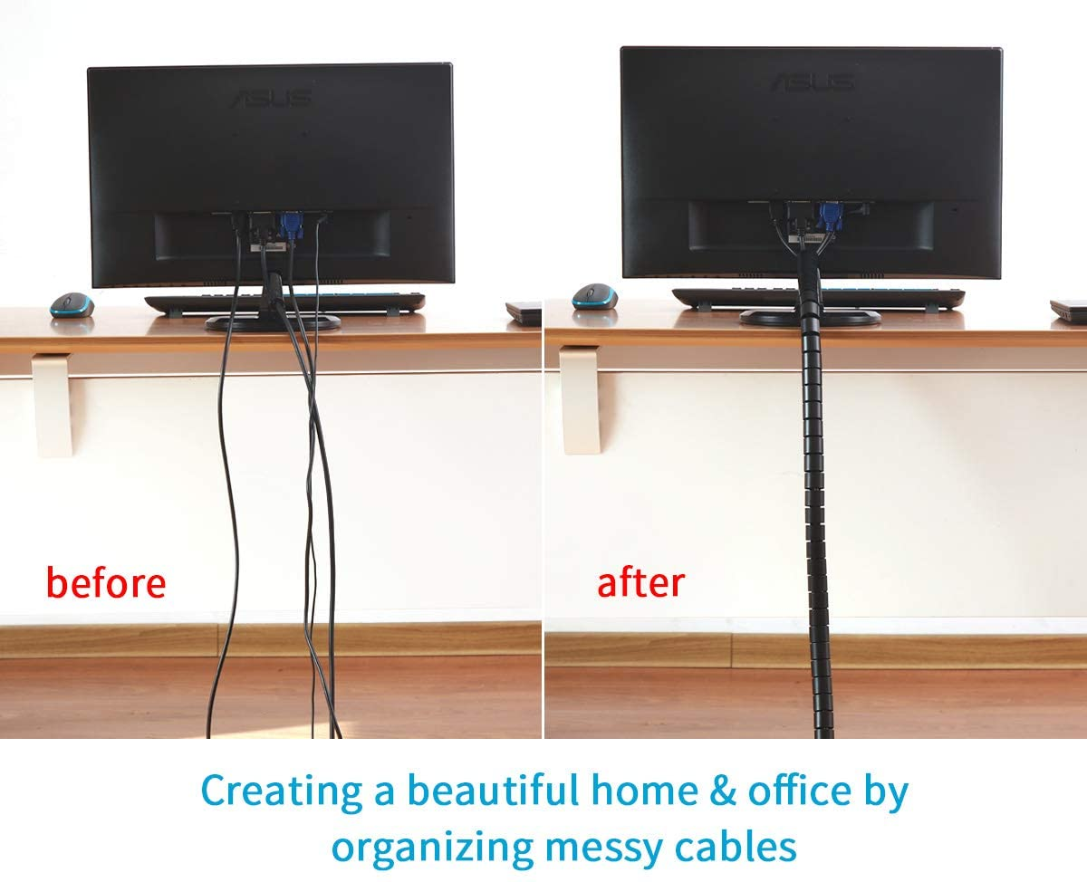 1//2 inch Cable Sleeve Easy Wrap Cable Management Sleeve Wire Wrap Cord Organizer for Computer TV Home Office Alex Tech 25ft Black