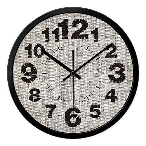 CC Timeon Modern King Size Quartz Wall Clock Non Ticking Quiet Sweep Decorative Clocks, Linen Edition, 12inches, black Review