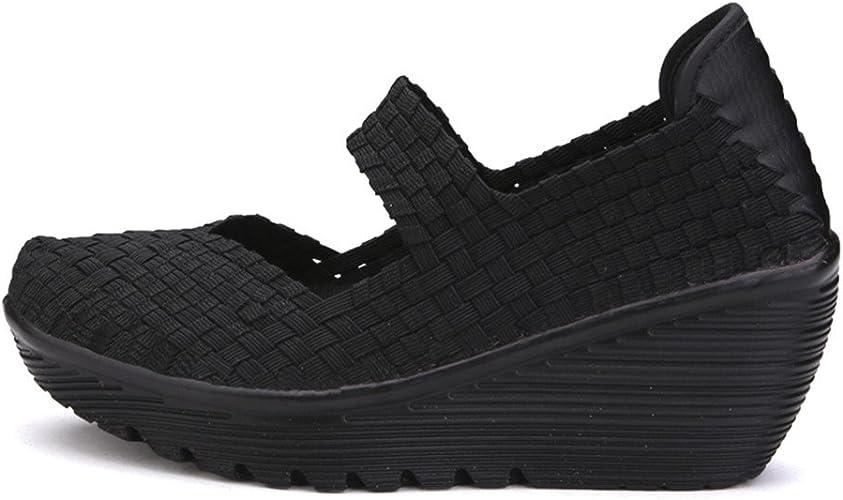 KINDOYO Womens Ladies Mary Jane Flat//Wedge Shoes Velvet Work Walk Comfort Hook /& Loop Sandals Strap Shoes Black//Red