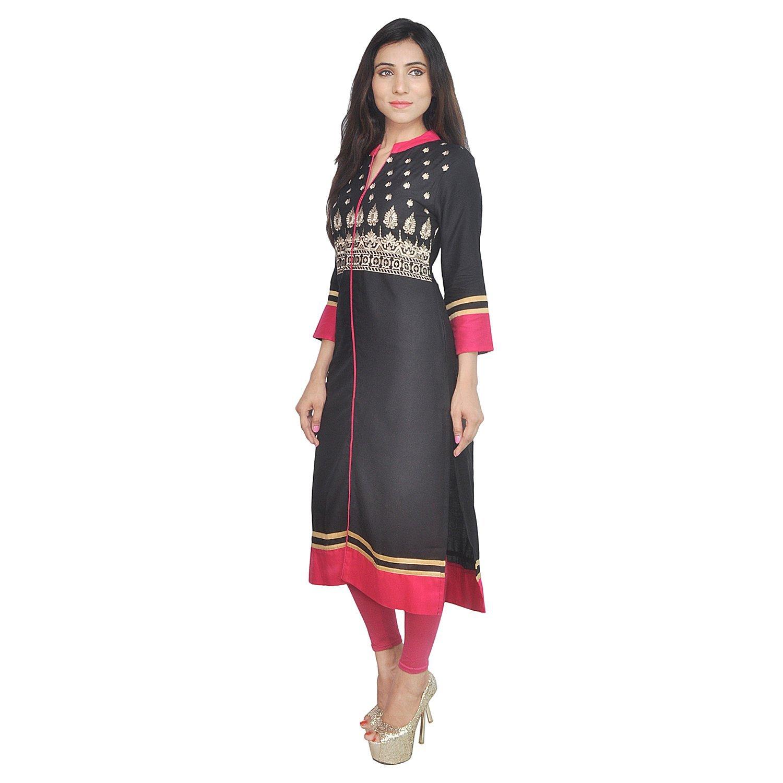 Chichi Indian Women Kurta Kurti 3/4 Sleeve Medium Size Plain with Side-Front Cut Straight Black Top by CHI (Image #3)