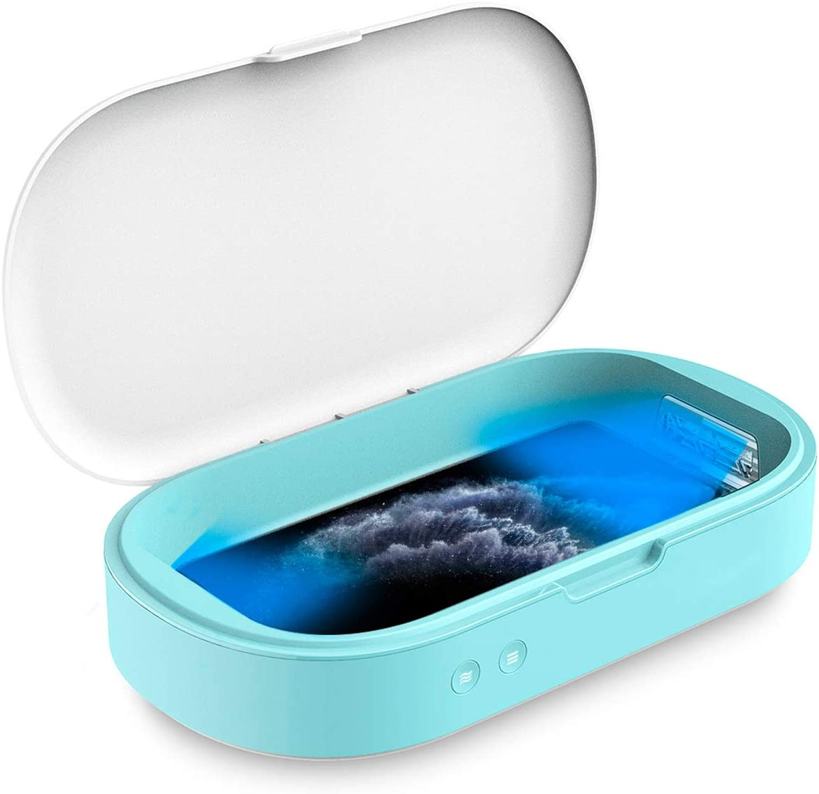 Celly Esterilizador UV Universal (Certificaciones), Caja Desinfectante con Rayos UV-C y Función Aromaterapia para Smartphones y Accesorios, Relojes, Mascarillas, Guantes.