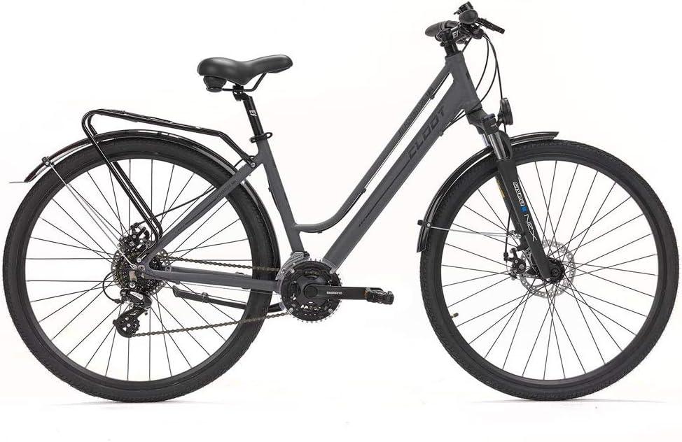 CLOOT Bicicleta hibrida Adventure Disc Shimano 24V con Horquilla Sontour Nex y Frenos de Disco, Bicicletas para Hombre y para Mujer.