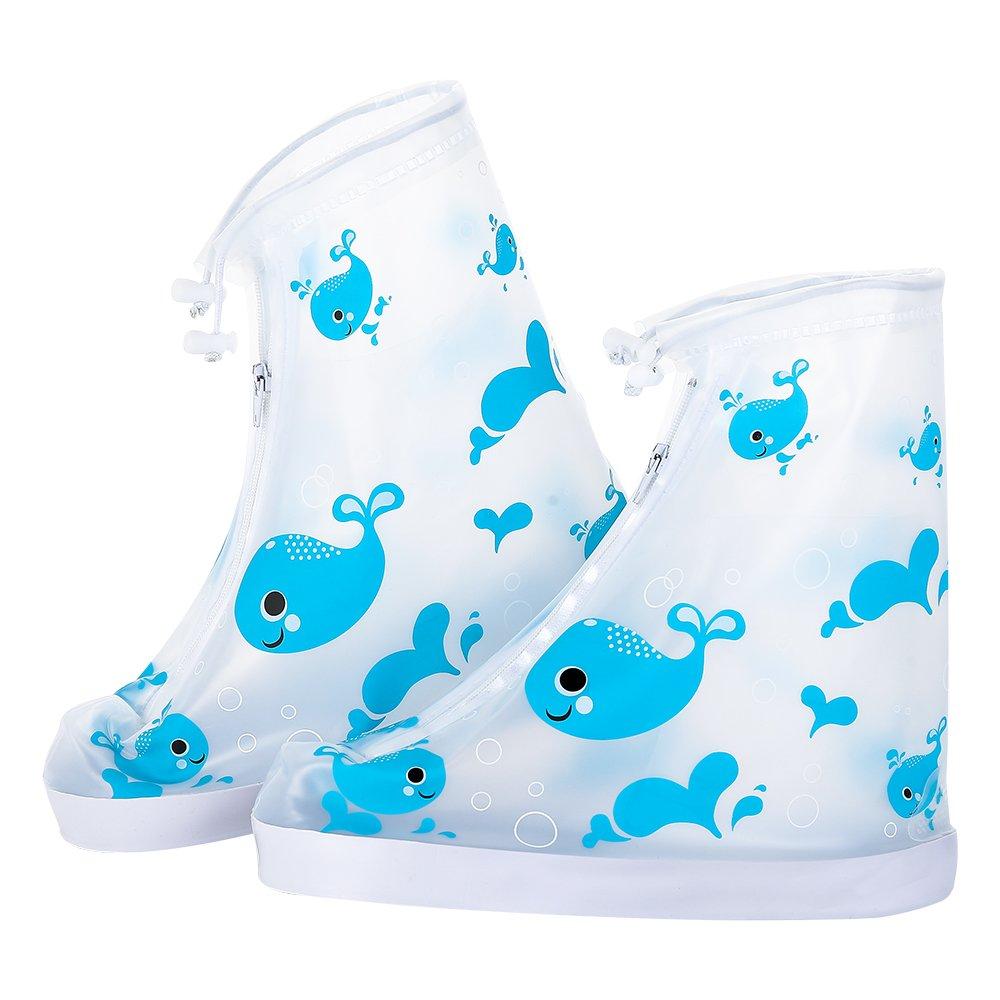 DoMii Kids Rain Boots Adjustable Zippered Shoe Covers Animal Printed Anti-slip Waterproof Overshoes Galoshes blue whale M