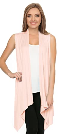 Simlu Womens Sleeveless Cardigan Vest Open Front Asymmetrical Long ...