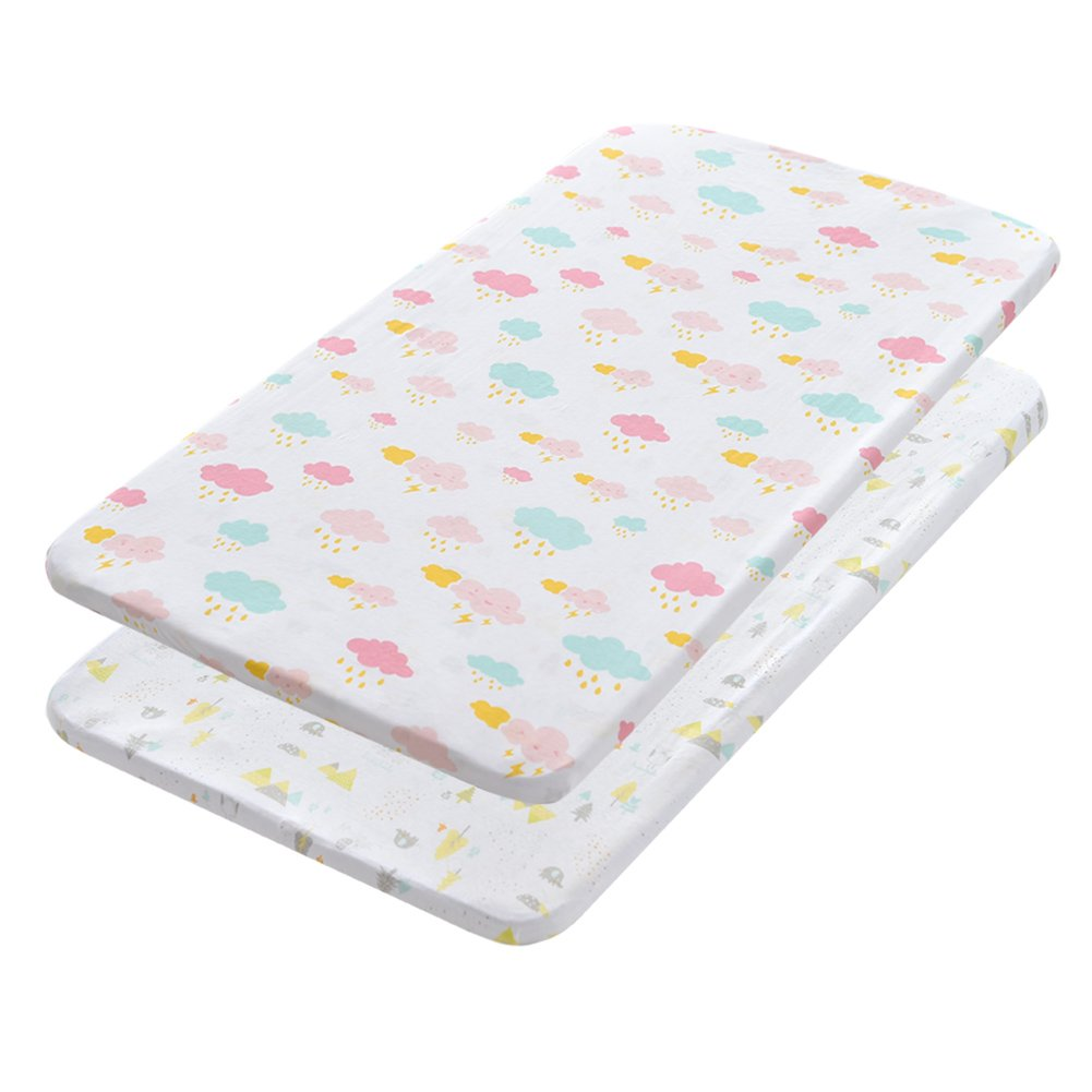 Gina Era Play Portable Crib Sheet Set 100% Jersey Cotton Unisex for Baby Girl and Boy,2 Pack(style5)