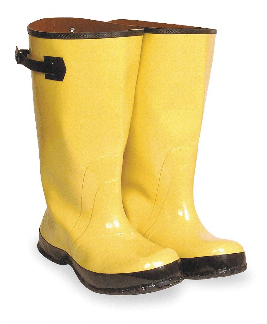 17''H Men x27;s Overboots, Plain Toe Type, Rubber Upper Material, Yellow/Black, Fits Shoe Size 13