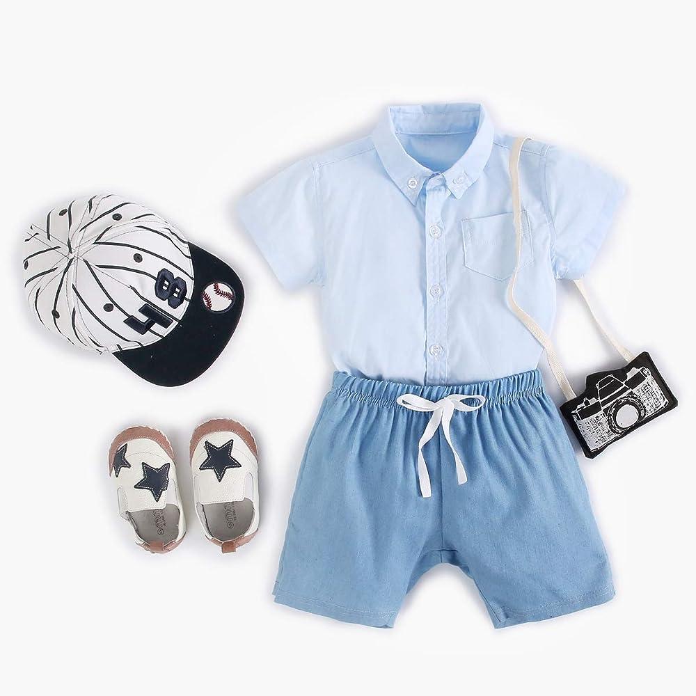 Sanlutoz Algodón Bebé Niño Pantalones Cortos Conjuntos Verano Bebé Bodys + Shorts 2pcs Casual Set de Bebe (6-12 meses/73cm, 9011-9022-BL): Amazon.es: Ropa y accesorios