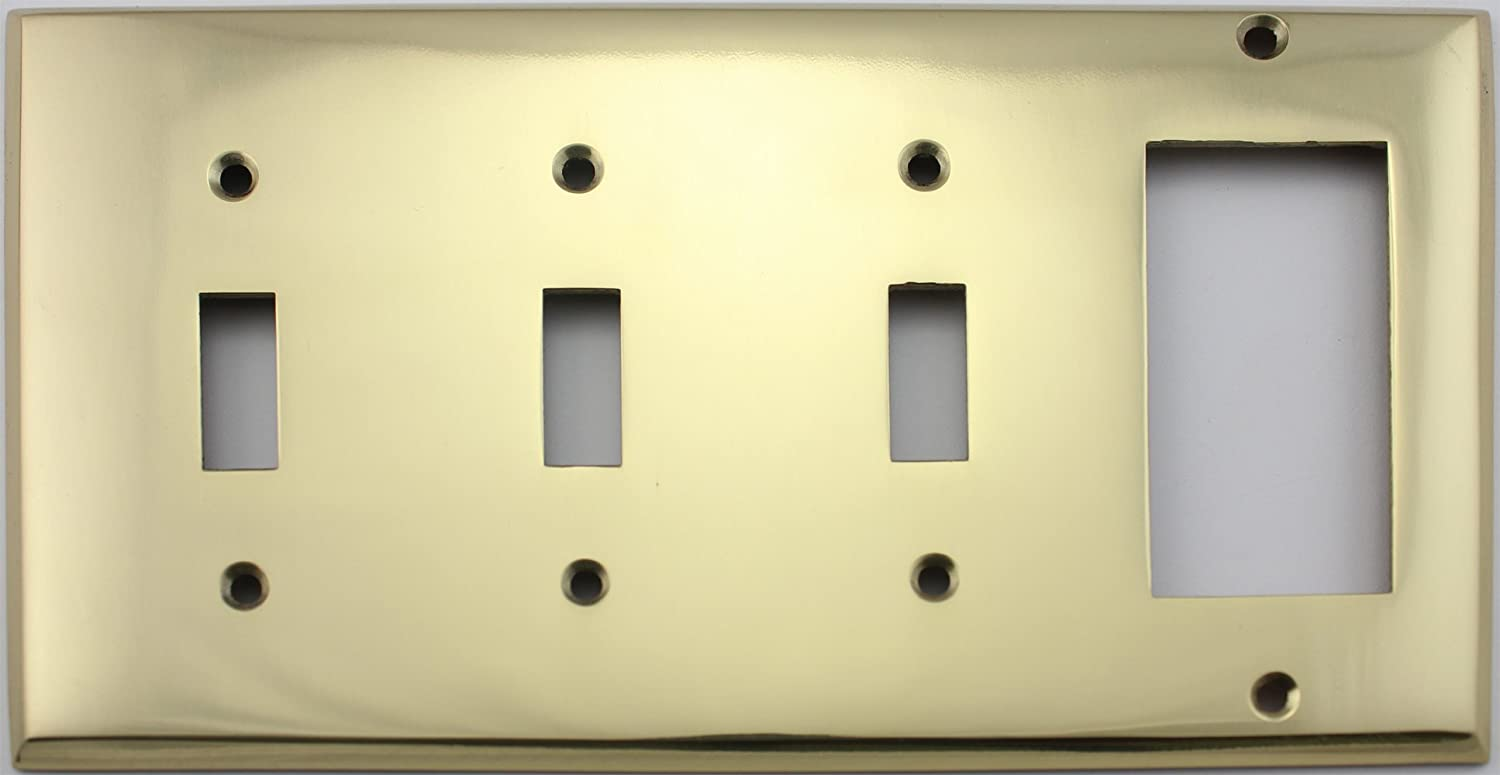 Polished Brass 4 Gang Switch Plate - 3 Toggle Light Switch Openings ...