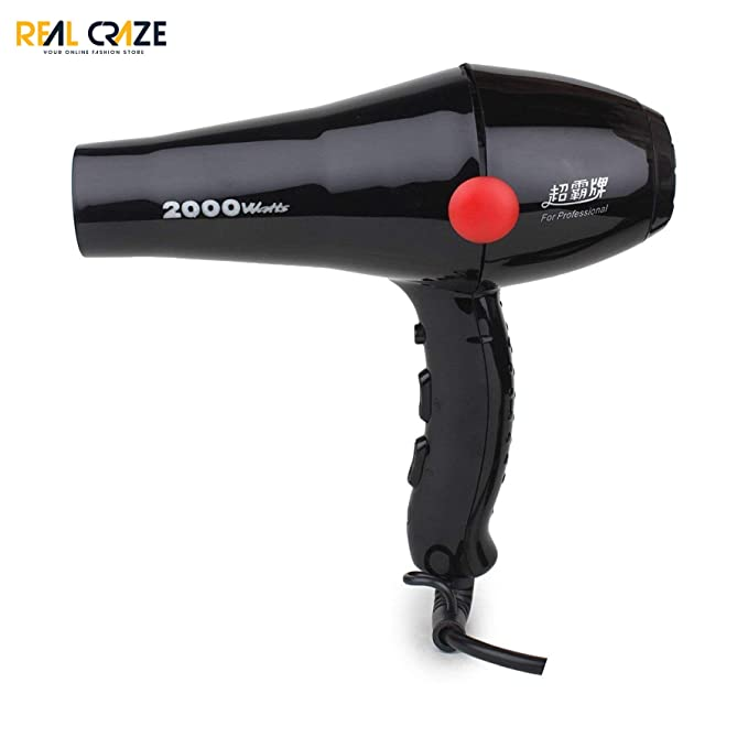 REAL CRAZE Powerful Electric Hair Dryer 2000w Hot and Cold Air for Home and Professional use  Black  Hair Styling Tools