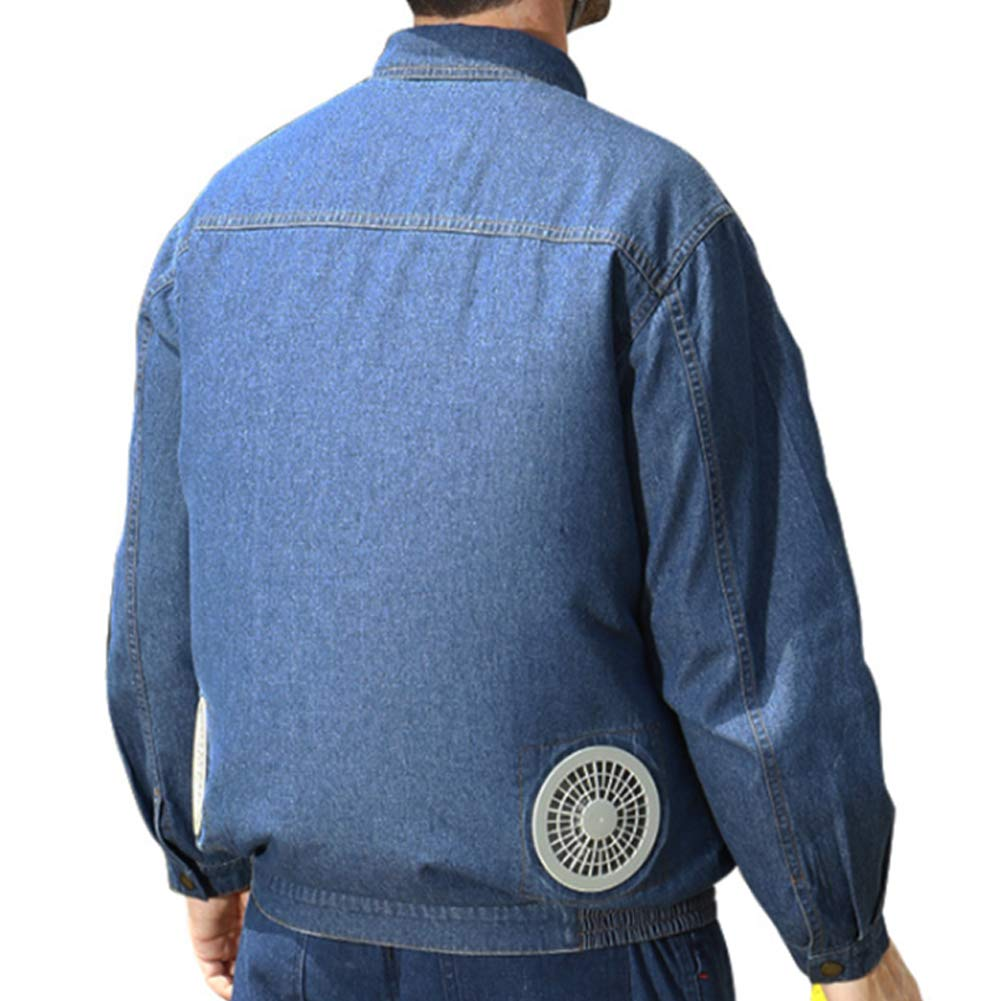 Moonsun08 Summer Men Electric Welding Clothes Cooling Jackets Top Coat Jeans with 2 Fans Blue S by Moonsun08