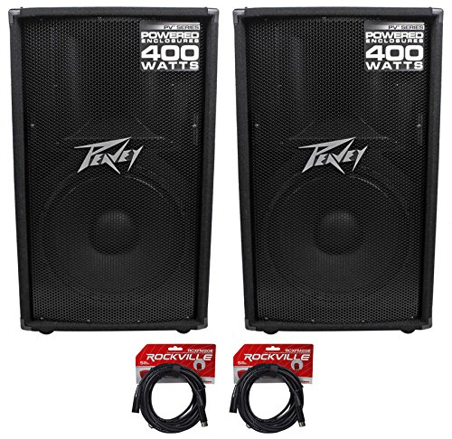 "(2) Peavey PV115D 15"" 400 Watt Active/Powered PA DJ Speaker +FREE Cables"