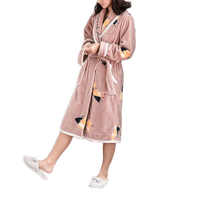 Mujer / Hombre Unisex Otoño / Invierno Franela Confort Warm Home Albornoz Albornoz Pijamas Acolchado Cálido Manga Larga Larga: Amazon.es: Ropa y accesorios