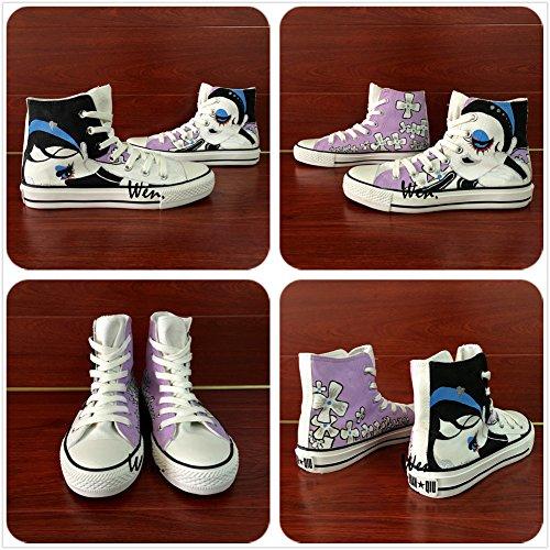 Wen Handgeschilderde Ontwerp Casual Schoenen Cartoon Meisje Bloemen Canvas Vrouwelijke Sneakers