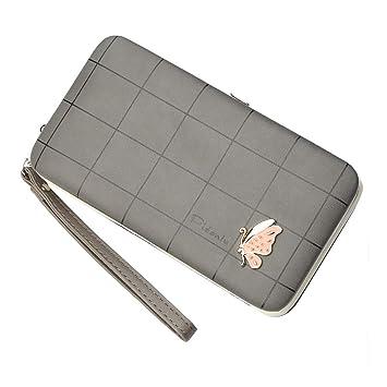 Coopay Mariposa Embrague Cartera Mujer Piel Faux Funda universal de Pochette para teléfono móvil con tarjeta de crédito / Monedero de bolsillo ...