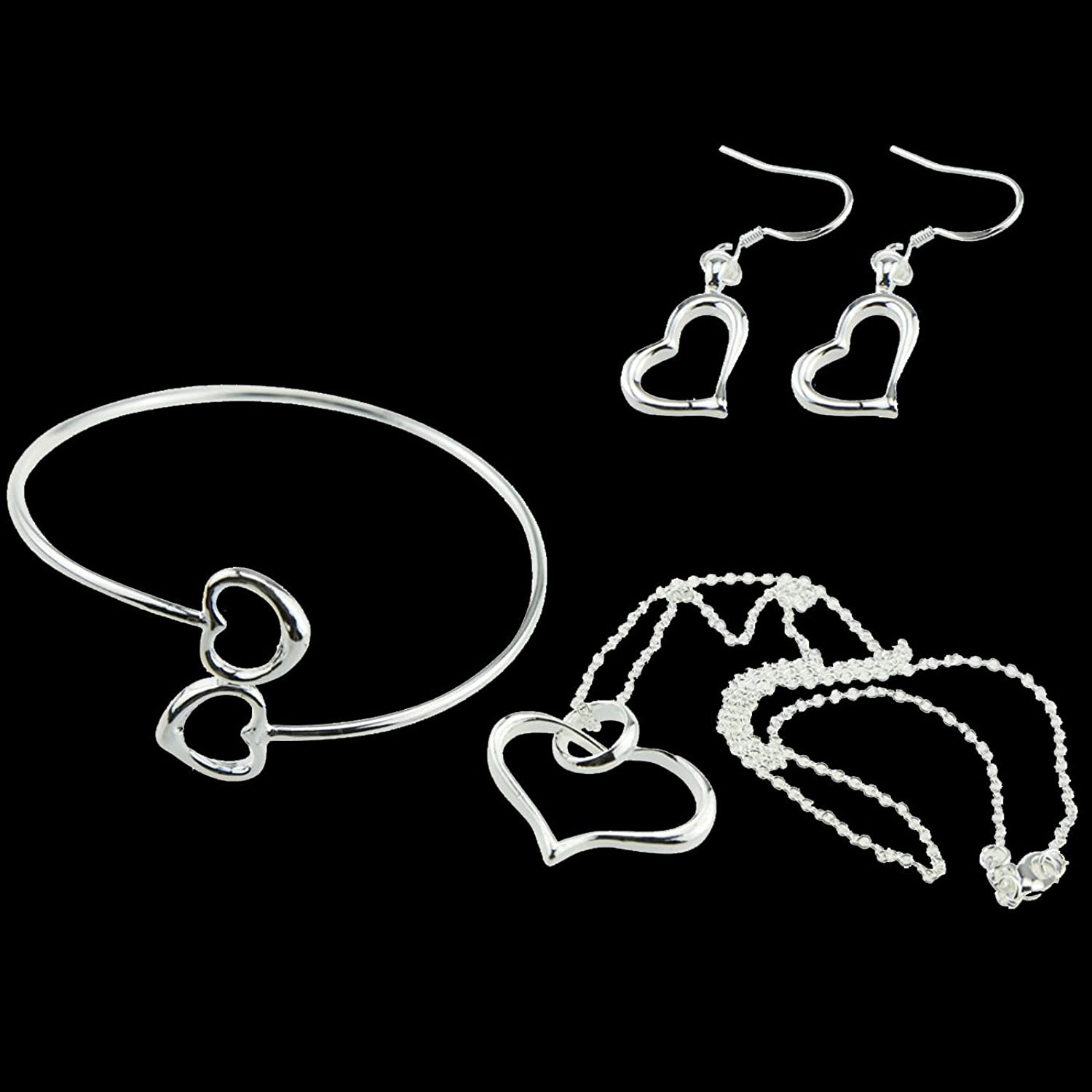 Silver Heart Love Jewelry [Valentine's Day Gift Set] Necklace (1) + Dangle Earrings (1) + Bracelet (1) for Wife or Girlfriend