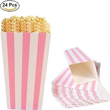 Ouinne Cajas de Palomitas, 24PCS Popcorn Boxes Maíz Envases del Sostenedor Cajas de Cartón de Bolsas de Papel para el Partido (Rosado): Amazon.es: Juguetes y juegos