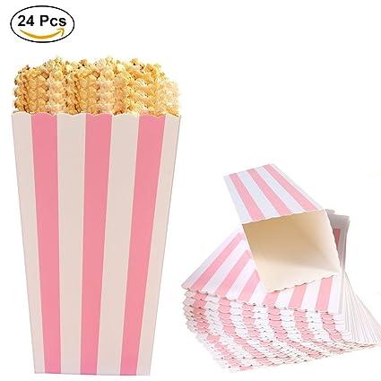 Cajas de Palomitas, Ouinne 24PCS Popcorn Boxes Maíz Envases del Sostenedor Cajas de Cartón de Bolsas de Papel para el Partido (Rosado)