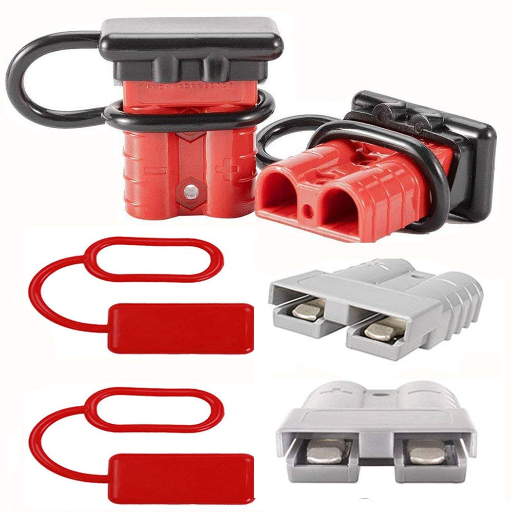 12-36V DC 50A//600V KingBra 4 Red Battery Quick Connect Disconnect Electrical Plug 6-8 Gauge Wire and 4pcs Black Connector Dust Cover for Recovery Winch or Trailer
