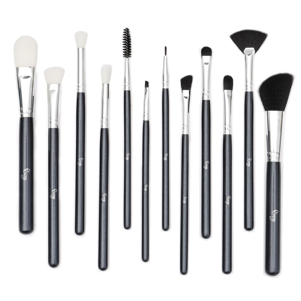 Qivange Makeup Brushes, Vegan Eyeshadow Brushes Eyebrow Eyeliner Small Fan Brush, Liquid Foundation Brush Blush Contour Brush Complete Makeup Brush Set(12pcs, Black with Silver)