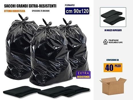 Bolsas negras de basura grandes y resistentes, 90 x 120 cm ...