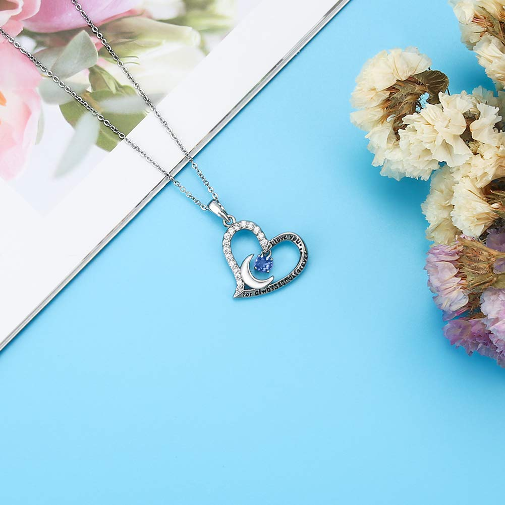 Stainless Steel Womens Light Blue Zircon Heart Necklace Funny 71st Birthday Gifts for Women 71 Year Old Birthday Gifts for Women 71st Birthday Gifts for Women