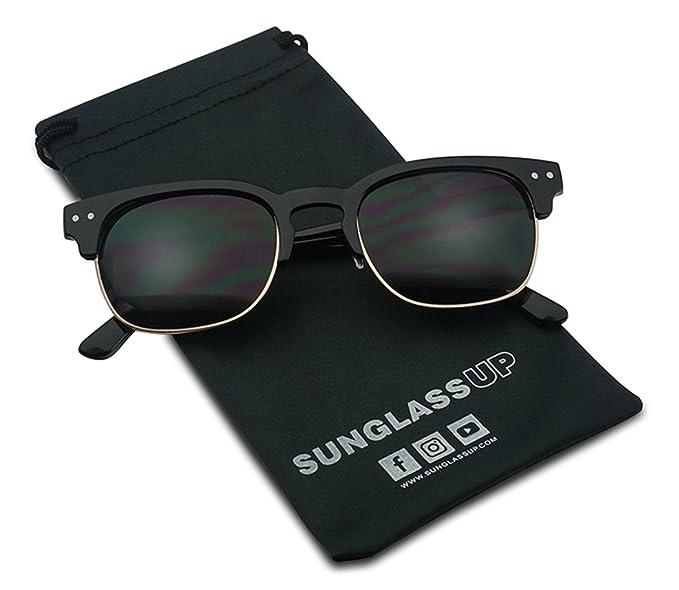 86268915e2 Classic Semi Frame Horned Rim Super Dark Tinted Designer Inspired Unisex  Sunglasses (Black Gold