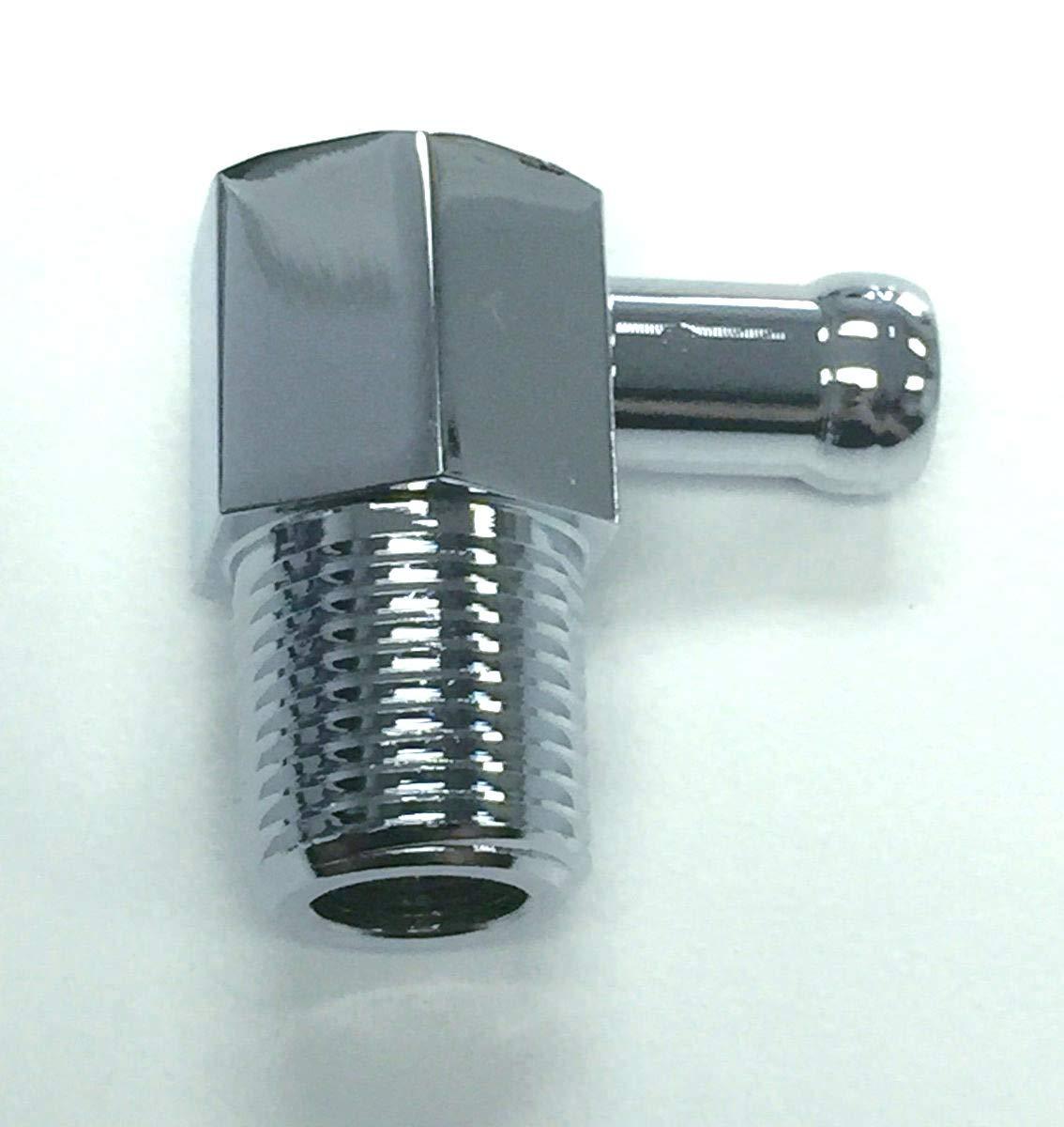 "Pirate Mfg Hot Rod Chrome Aluminum 90 Degree Intake Vacuum Fitting 3/8"" NPT & Hose"