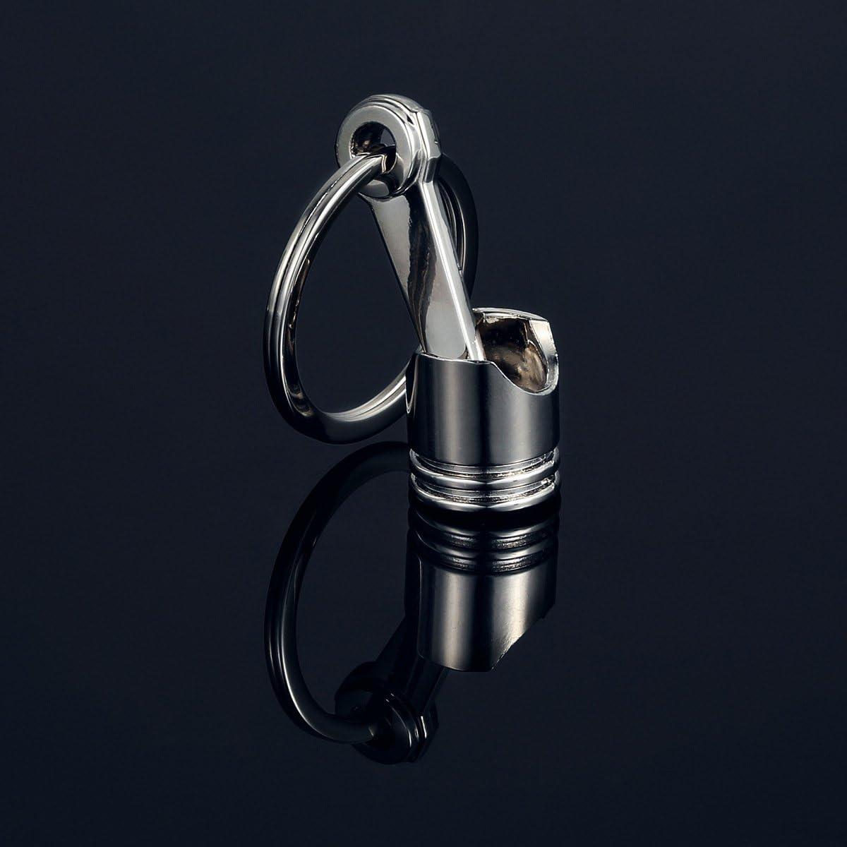 1 Pcs Fun Engine Auto Car Part Silver Metal Piston Model Shape Alloy Keychain Keyring Keyfob(Silver)