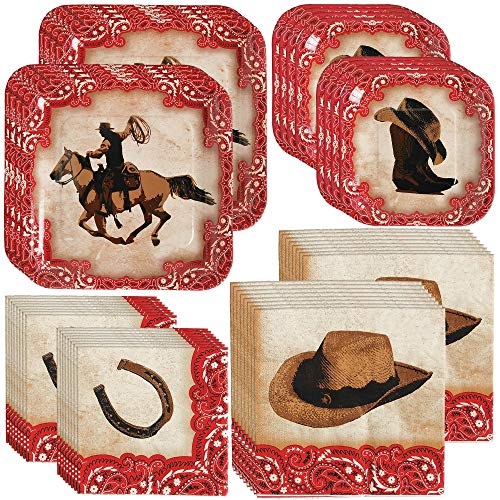 Western Themed Birthday Party (Unique Rodeo Western Party Bundle | Luncheon & Beverage Napkins, Dinner & Dessert Plates, Table Cover, Cups | Great for Cowboy/Texas/Rustic/Wild West Birthday Themed)