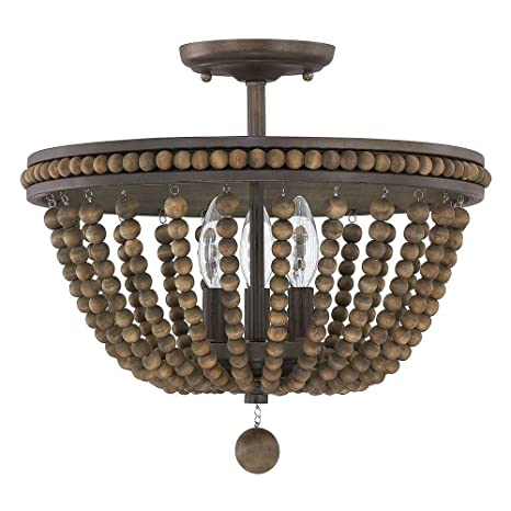 Austin Allen Co 9a122a Handley Three Light Semi Flush Mount Tobacco Stained Wood Beads Finish