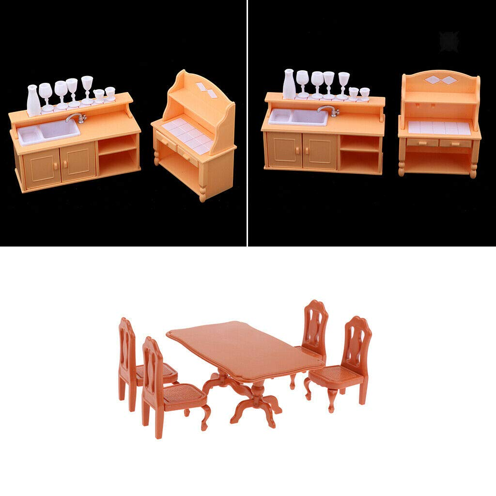 1//12 Dollhouse Miniature Furniture Dining Room Table Chairs Cupboard Set Toy
