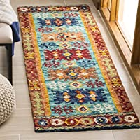 Safavieh Aspen Collection APN503A Blue and Red Premium Wool Runner (23 x 7)