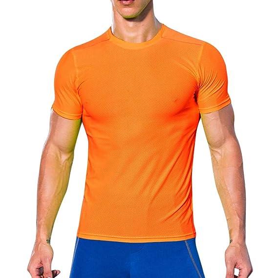 b2f2b35291146 T-Shirt pour Homme Ronamick Séchage Rapide Couleur Unie Musculation sous- Chemise Manche Courte