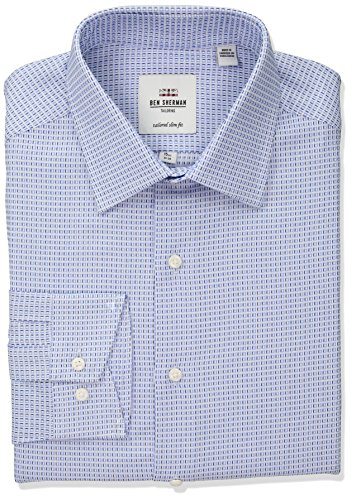 Ben Sherman Men's Box Dobby Florentine Spread Fit Dress Shirt