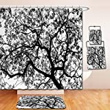 Nalahome Bath Suit: Showercurtain Bathrug Bathtowel Handtowel Apartment Decor Forest Tree Branches Modern Decor Spooky Horror Movie Themed Print Black and White